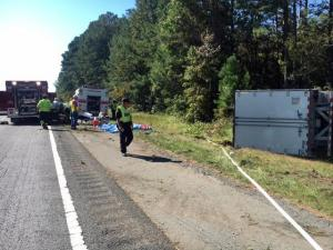 Authorities shut down all southbound lanes of Interstate 95 in Johnston County Wednesday afternoon due to a wreck involving a tractor-trailer.