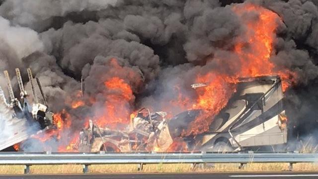 Fiery tractor-trailer crash shuts down I-95, leads to