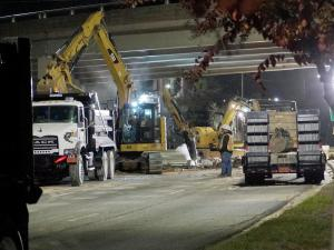 Crews on Monday night were making repairs to a water main break on Capital Boulevard.