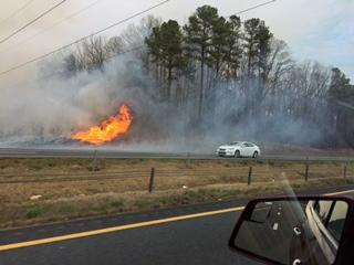 At least one lane of U.S. Highway 1 South is closed near Ten-Ten Road (Exit 96) in Apex due to a brush fire.