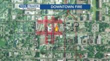 Roads closed after fire in downtown Raleigh