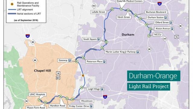 Durham-Orange Light Rail Project map