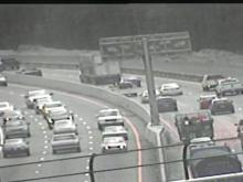 Tractor-trailer overturns on I-40 east in Raleigh