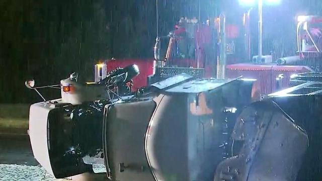 A tractor-trailer hauling rotting chicken overturned Friday night off U.S. Highway 1 near Franklinton, spilling the meat on the road, troopers said.