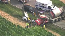 IMAGES: At least 1 person hospitalized after car, cement mixer collide in Fuquay-Varina