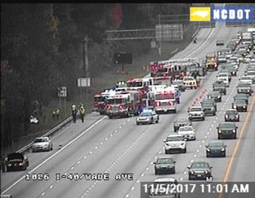 A single-vehicle crash on Sunday morning snarled traffic on Interstate 40 in Raleigh for a couple hours.<br/>Web Editor: Evan Matsumoto