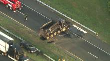 IMAGES: I-95 reopens hours after dump truck overturns in Cumberland County