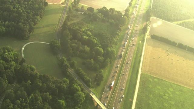 Sky 5 flies over a dump truck crash on I-95