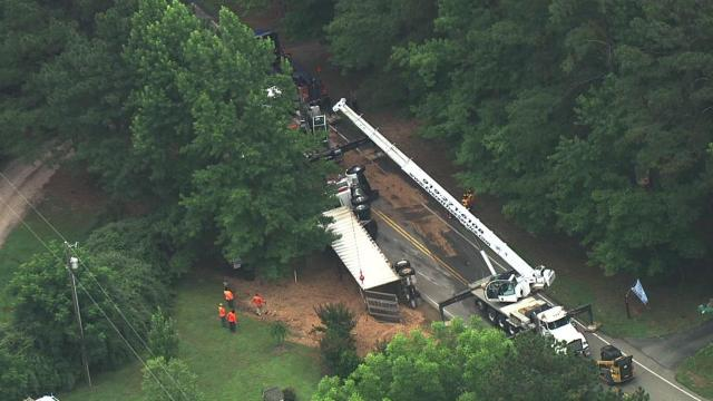 Sky 5 flies over a truck crash in north Raleigh