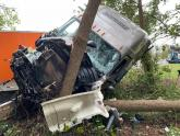 IMAGES: Rookie driver crashes new tractor-trailer into tree along I-95 in Johnston County