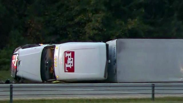 A tractor-trailer overturned on Interstate 40 near N.C. Highway 86 in Orange County on Oct. 7, 2018.