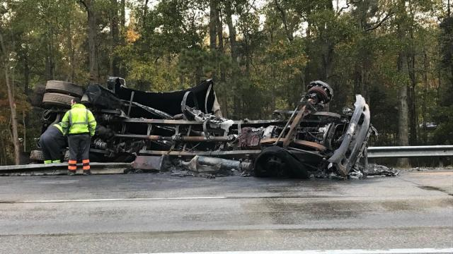 Truck driver survives tractor trailer crash, explosion on I-95 near Rocky Mount