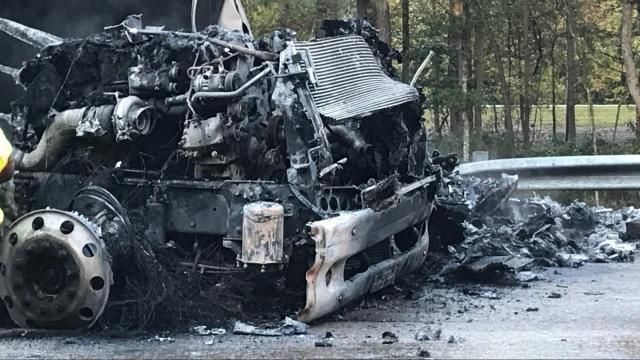 Driver survives tractor trailer crash, explosion on I-95 near Rocky Mount
