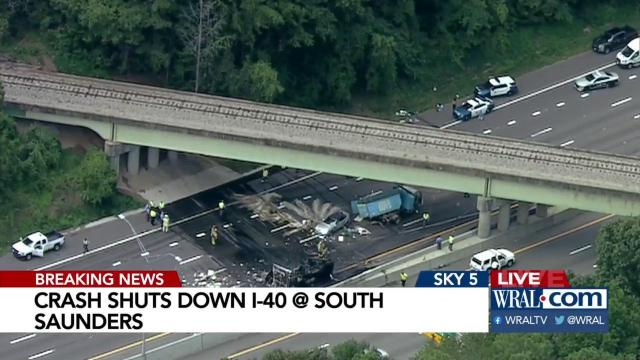 WATCH: Detours to get around fatal, fiery crash on I-40