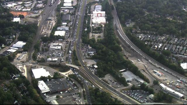 Road work blocks southbound Capital Boulevard north of downtown Raleigh