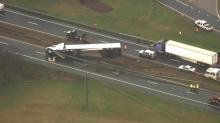 IMAGE: 18-wheeler overturns on I-95 near Dunn
