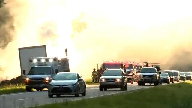 Tractor trailer fire stalls traffic on US 264 in Zebulon