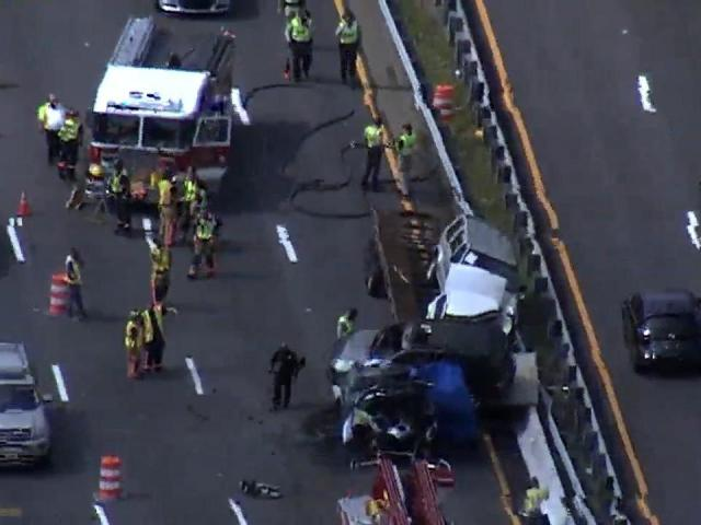 One person died Wednesday afternoon in a crash on Interstate 40 eastbound near Raleigh-Durham International Airport.