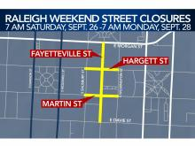 Raleigh weekend street closures, Sept. 26-28, 2020
