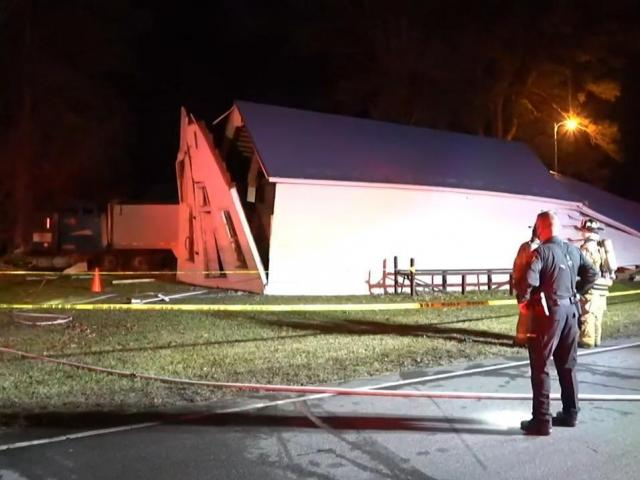 A tractor-trailer hit a building near N.C. Highway 231 and N.C. Highway 39 in eastern Johnston County Friday night.