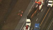 IMAGE: Truck tips over, slowing traffic on I-95 in Cumberland County