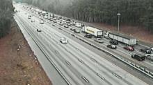 IMAGE: Overturned dump truck causes delays on I-40 West near RDU Airport