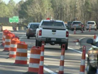 DOT construction crews have narrowed the merge lanes in that busy area on the east side of downtown Raleigh at Exit 16 down to a single lane.