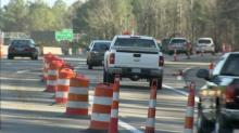 IMAGES: DOT works to clarify lane change in east Raleigh