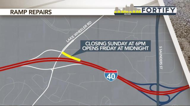 Ramp from I-40W to Lake Wheeler closes for week of Fortify construction