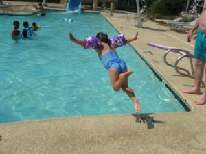 Photo by: Linda Charlton. I'm gonna' fly into the pool!