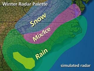 This image is a schematic illustration of the colors used in radar imagery to denote estimated precipitation type.