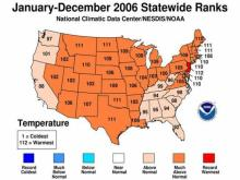 National Temperature Rankings for 2006