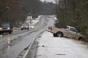 A driver along highway 54 in Durham lost control and is now stuck on the side of the road.