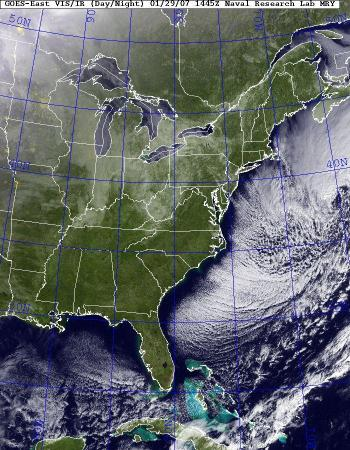 Visible satellite image from Naval Research Laboratory for 10:45 am January 29, 2007.