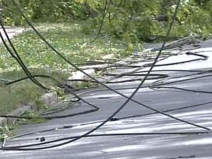 Power lines were down at several Chapel Hill intersections.