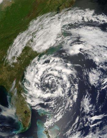 NASA satellite image showing subtropical storm Andrea, the first named storm of the year, off Florida and Georgia at 11 a.m. EDT on Tuesday, May 8, 2007. Also visible are streams of smoke in northern Florida and Georgia from wildfires in those states. (AP Photo/NASA)
