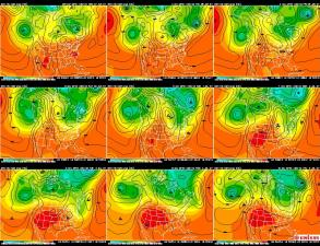 GFS upper level and surface forecast from www.unisys.com for the period ending the evening of July 4th, 2007