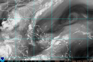 NOAA satellite image from July 16, 2007 showing water vapor concentrations across the western Atlantic, Caribbean and Gulf of Mexico