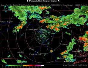 Raleigh NWS Radar 6 pm 17 July 07, from the Plymouth State University NEXRAD Archive