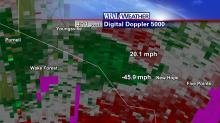 Divergence signature on radar with highest inbound and outbound velocities labeled
