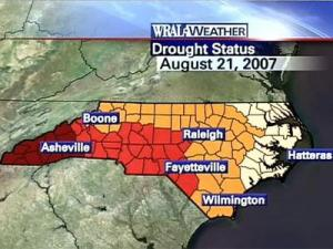 Drought conditions as of Aug. 21. Counties in yellow are classified as in a moderate drought; orange in severe drought; red in extreme drought; and dark red in exceptional drought.