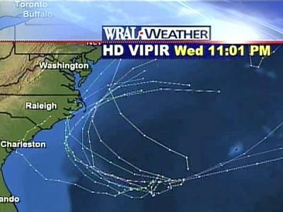 The 16 computer models used by WRAL's meteorologists predict a variety of possible tracks for the Atlantic storm system on Wednesday evening.