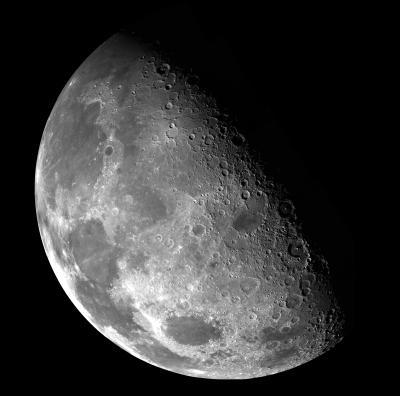 A gibbous Moon.