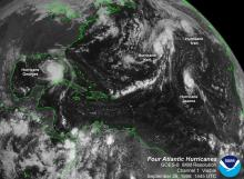 Four hurricanes prowling the Atlantic in late September 1998.