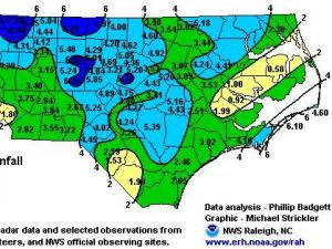 NWS Raleigh analysis of rain gauge reports for the 22-27 Oct 2007  event.