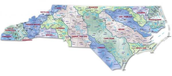 Map of North Carolina Watershed boundaries