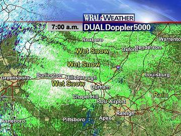 DUALDoppler5000 image at 7am on Wednesday, December 4, 2007, showing rain, snow, and other precipitation across parts of the Triangle.