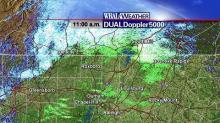DUALDoppler5000 image at 11am on Wednesday, December 4, 2007, showing rain, snow, and other precipitation across parts of the Triangle.