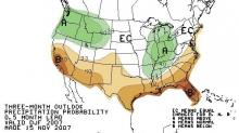 The Climate Prediction Center's precipitation outlook for December 2007 through February 2008.