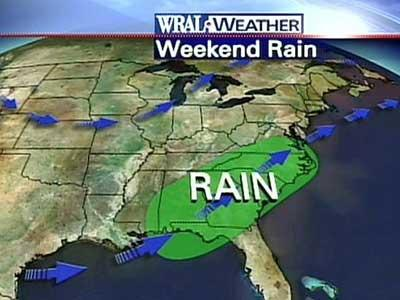 The Triangle will likely get two chances of rain this weekend.